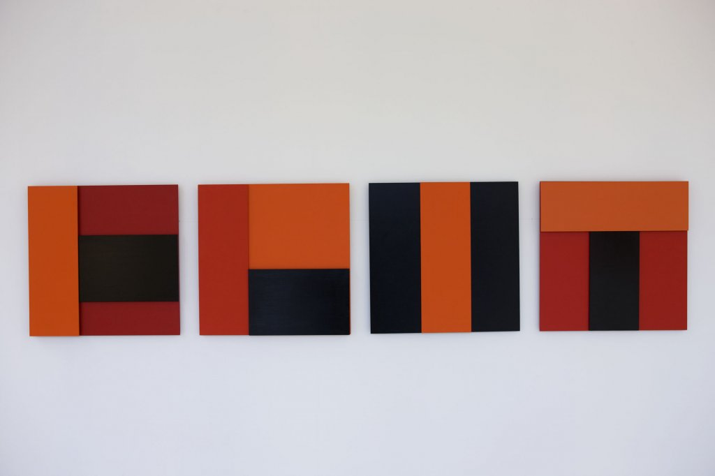Beata Geyer <em>Milk City 1–4 </em>2008 MDF, acrylic 45 x 45 cm