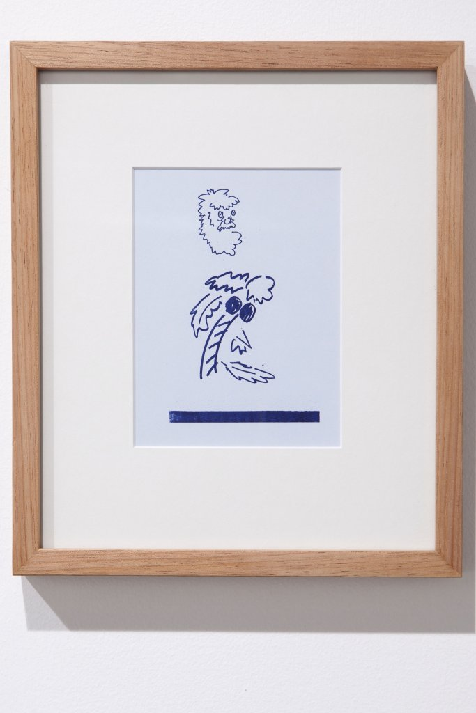 Mitch Cairns  <em>Cartoon III</em> 2011 riso print &amp; pencil on paper image: 17 x 14 cm framed: 30 x 28 cm