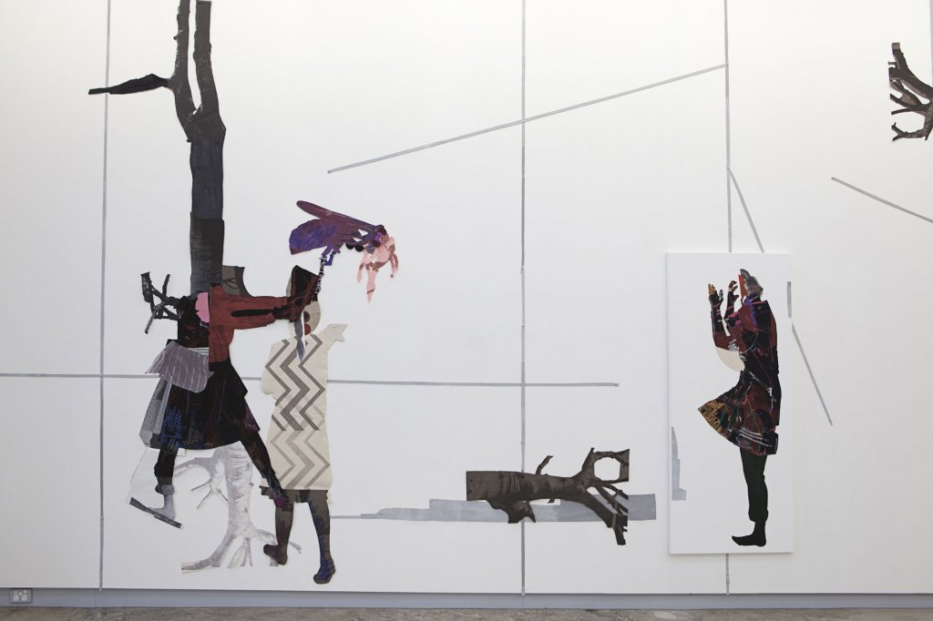 Sally Smart <em>In Her Nature (Drawing Performance Figure #3)</em> 2010–11 synthetic polymer paint on canvas and fabric, oil pastel on velvet, paper and other collage elements