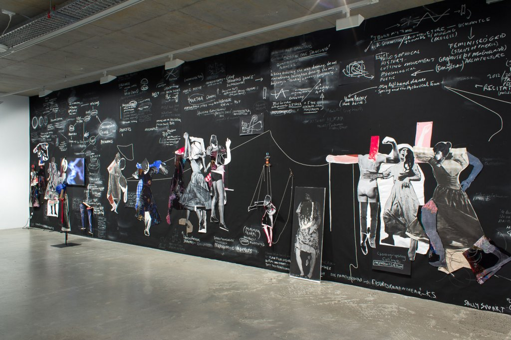 <p>Sally Smart, <em>Choreographing Collage</em>, 2013, (installation view), synthetic polymer paint, ink on velvet cotton and various collage elements, video, steel, cotton string, rope, cardboard, pins, photographs, chalk, pastel, glue, all on canvas canvas, 332 x 1,150 cm</p>