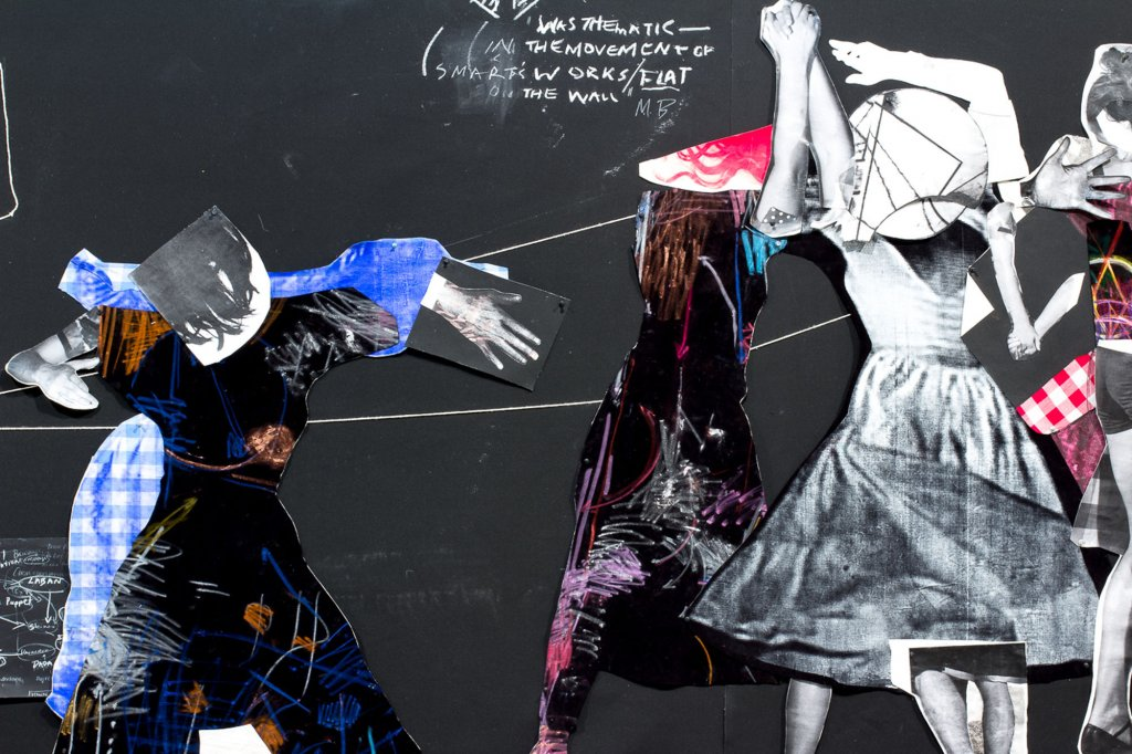 <p>Sally Smart, <em>Choreographing Collage</em>, 2013, (detail view), synthetic polymer paint, ink on velvet cotton and various collage elements, video, steel, cotton string, rope, cardboard, pins, photographs, chalk, pastel, glue, all on canvas canvas, 332 x 1,150 cm</p>